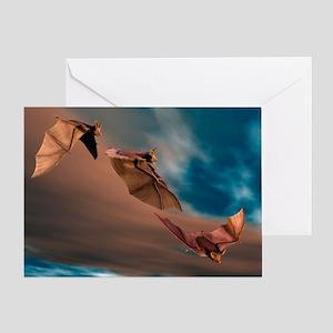 Bats in flight, artwork - Greeting Card