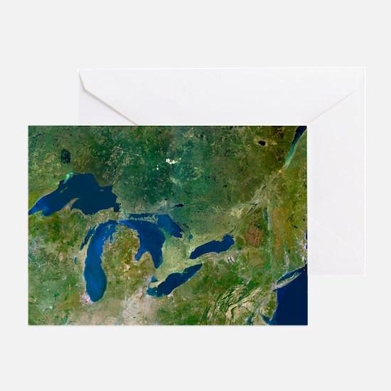Great Lakes, satellite image - Greeting Card