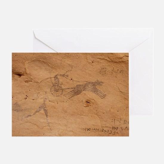 Pictograph of Horsedrawn Chariot, Libya - Greeting
