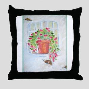 Window! Floral art! Throw Pillow