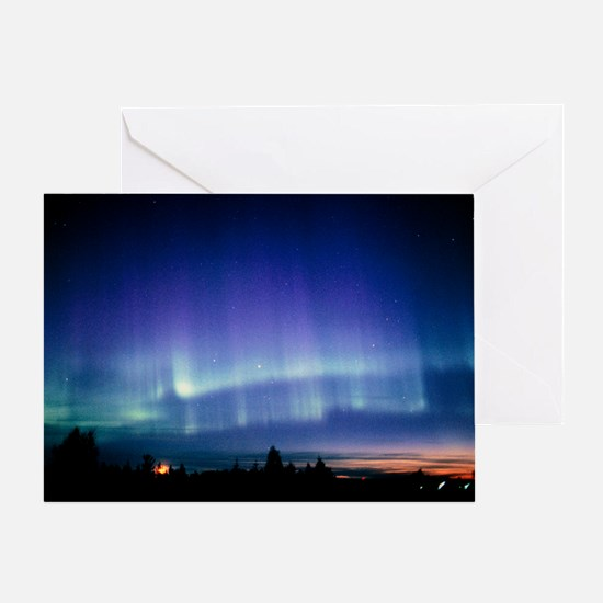 View of a colourful aurora borealis display - Gree