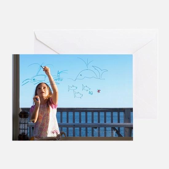 Girl drawing - Greeting Card