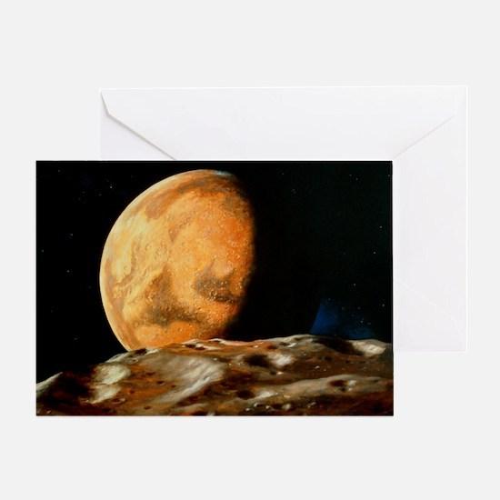 Mars seen from Deimos - Greeting Card