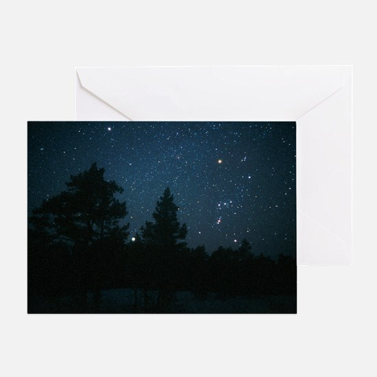 Starfield including Orion, Sirius - Greeting Card