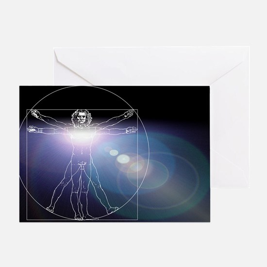 Vitruvian man with flare in chest - Greeting Card