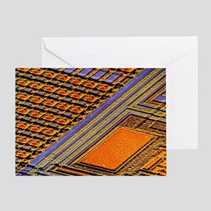 Coloured SEM of surface of an EPROM silicon chip -