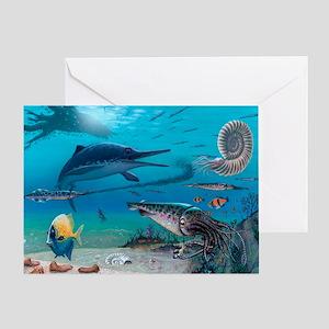 Ichthyosaur and prey - Greeting Card