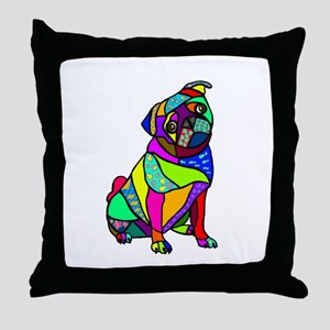 Designed Pug Throw Pillow