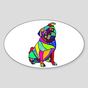 Designed Pug Sticker (Oval)