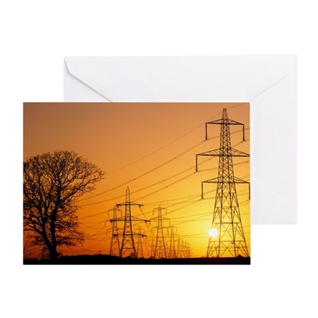 Pylons and power lines at sunset - Greeting Card