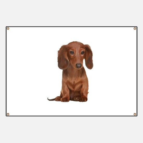 Painted Red Doxie Banner