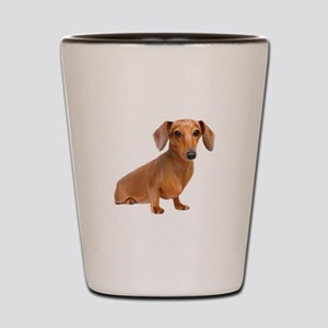 Painted Red Doxie Smooth Hair Shot Glass