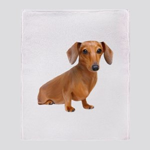 Painted Red Doxie Smooth Hair Throw Blanket
