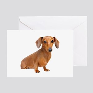 Painted Red Doxie Smooth Hair Greeting Card