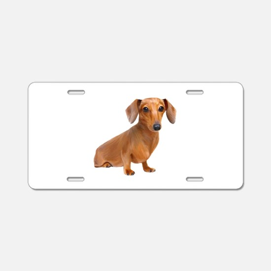 Painted Red Doxie Smooth Hair Aluminum License Pla