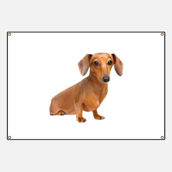 Painted Red Doxie Smooth Hair Banner