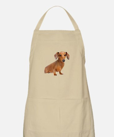 Painted Red Doxie Smooth Hair Apron