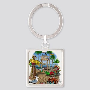 Parrot Beach Shack Square Keychain