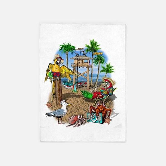 Parrot Beach Shack 5'x7'Area Rug