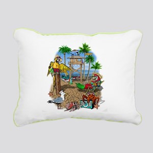 Parrot Beach Shack Rectangular Canvas Pillow