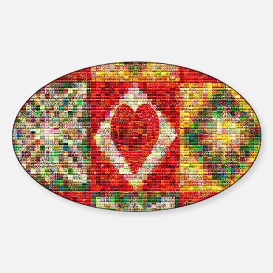 Heart Patchwork Love Quilt Sticker (Oval)