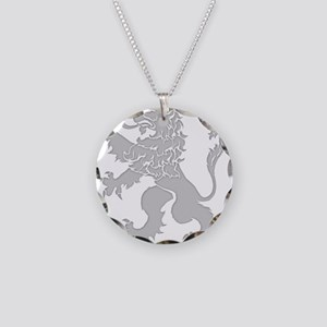 Grey Lion Rampant Necklace Circle Charm