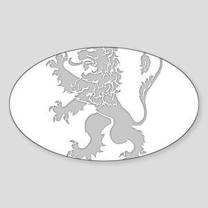 Grey Lion Rampant Sticker (Oval)