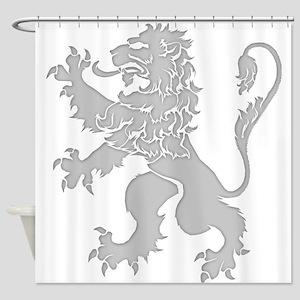 Grey Lion Rampant Shower Curtain