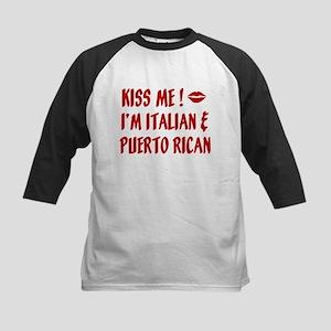 Kiss Me: Italian & Puerto Ric Kids Baseball Jersey