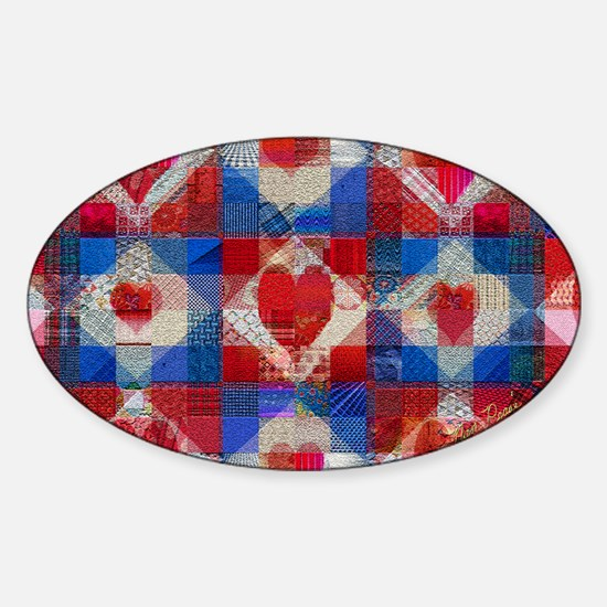 Red Heart Patchwork Quilt Sticker (Oval)