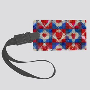 Red Heart Patchwork Quilt Large Luggage Tag