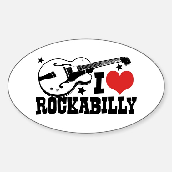 I Love Rockabilly Sticker (Oval)