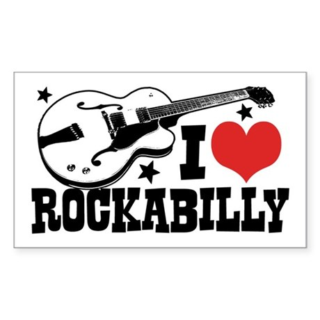 I Love Rockabilly Sticker (Rectangle)