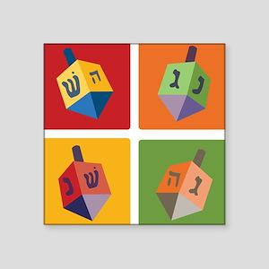 "Four Dreidels Square Sticker 3"" x 3"""