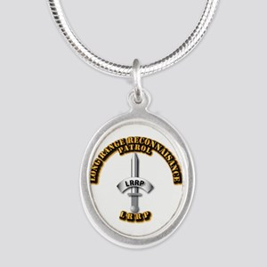 Army - Badge - LRRP Silver Oval Necklace
