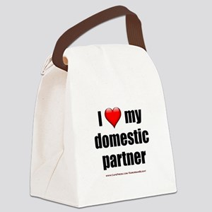 """""""Love Domestic Partner"""" Canvas Lunch Bag"""