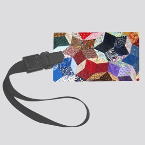 Tumbling Blocks Patchwork Quilt Large Luggage Tag