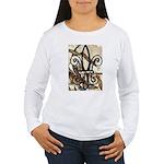 Feathered Fleur de Lis Women's Long Sleeve T-Shirt