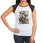 Feathered Fleur de Lis Women's Cap Sleeve T-Shirt