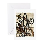 Feathered Fleur de Lis Greeting Cards (Pk of 10)