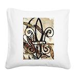 Feathered Fleur de Lis Square Canvas Pillow