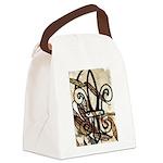 Feathered Fleur de Lis Canvas Lunch Bag