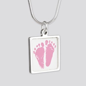 Pink Feet Silver Square Necklace