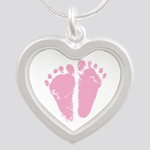 Pink Feet Silver Heart Necklace