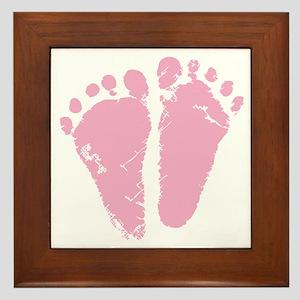 Pink Feet Framed Tile