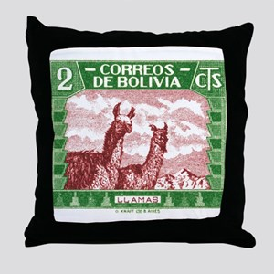 Antique 1939 Bolivia Llamas Postage Stamp Throw Pi