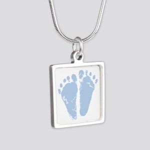 Blue Feet Silver Square Necklace