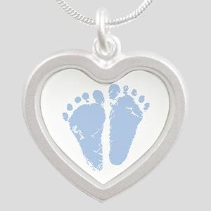Blue Feet Silver Heart Necklace