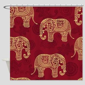 Beautiful Elephant Pattern Shower Curtain