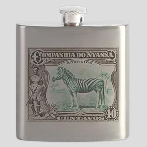 1921 Nyassa Company Zebra Postage Stamp Flask